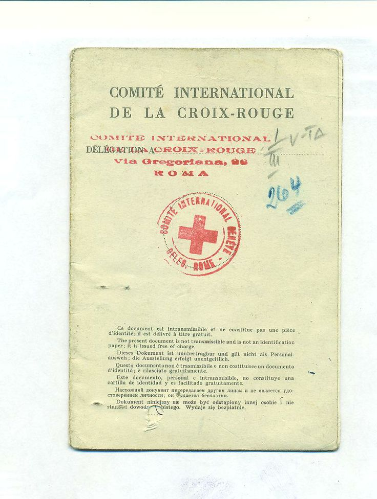 Travel document issued by the International Red Cross Committee in Rome, 1948 Document issued by another of the organizations which helped refugees and Holocaust survivors on 3 September 1948.