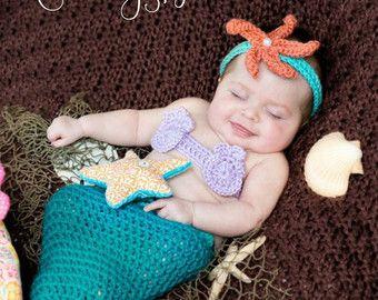 Rose bébé nouveau-né Costume de sirène 0 à 3 par CreativeDragonfly