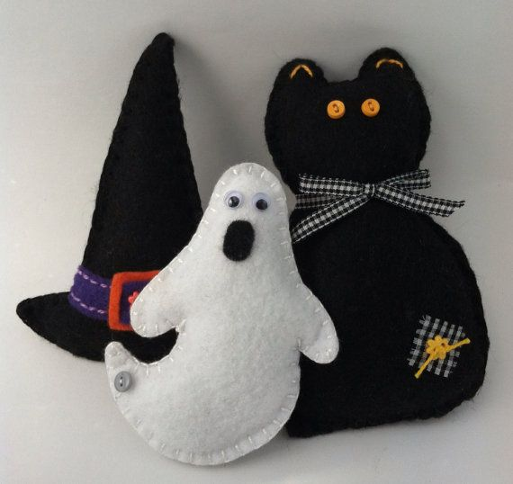 Halloween Ornaments Set of 3 por patsfabriccreations en Etsy