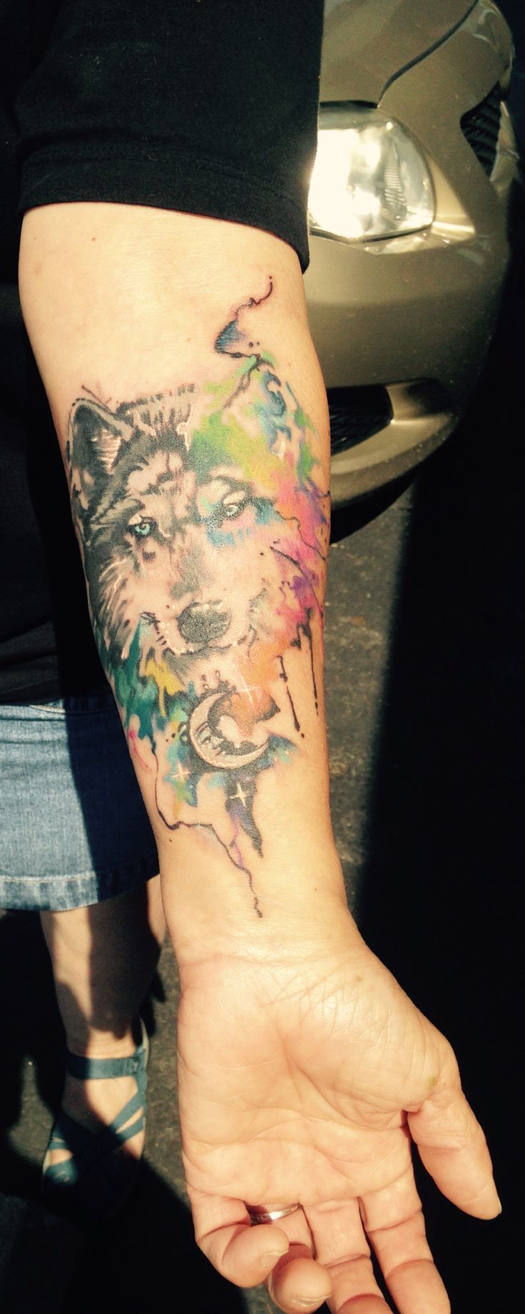 Amazing Watercolor Wolf Tattoo - Big Easy Tattoos at Wentzville, MO.....