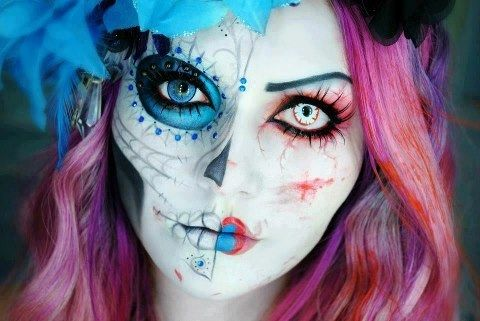 This face makeup is to die for. Half pretty, half creepy :)