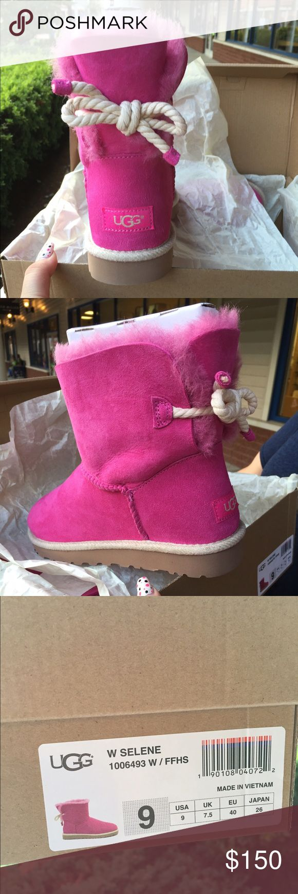 Uggs with rope bow Wicked cute pink uggs with rope bow, remind me of something nautical.  Will consider all offers! UGG Shoes Ankle Boots & Booties