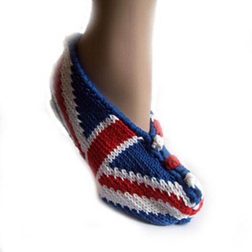 Adult Union Jack Slippers pattern by Lorraine Hearn