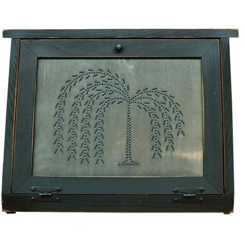 Old-Fashioned Rustic Bread Box With Punched Metal Willow Design