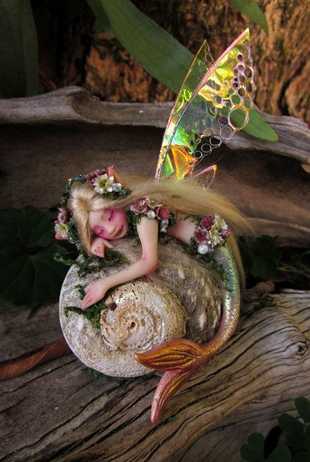 Pretty Mermaid Fairy on Shell by Celia Anne