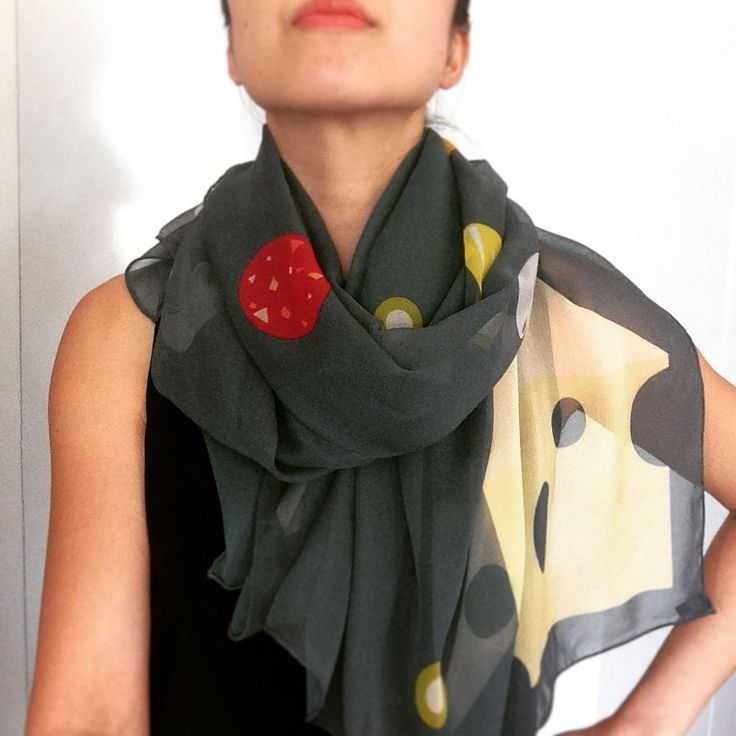 More Pizza Please Silk Scarf - Shop Online - Design Studio Rock and Gold