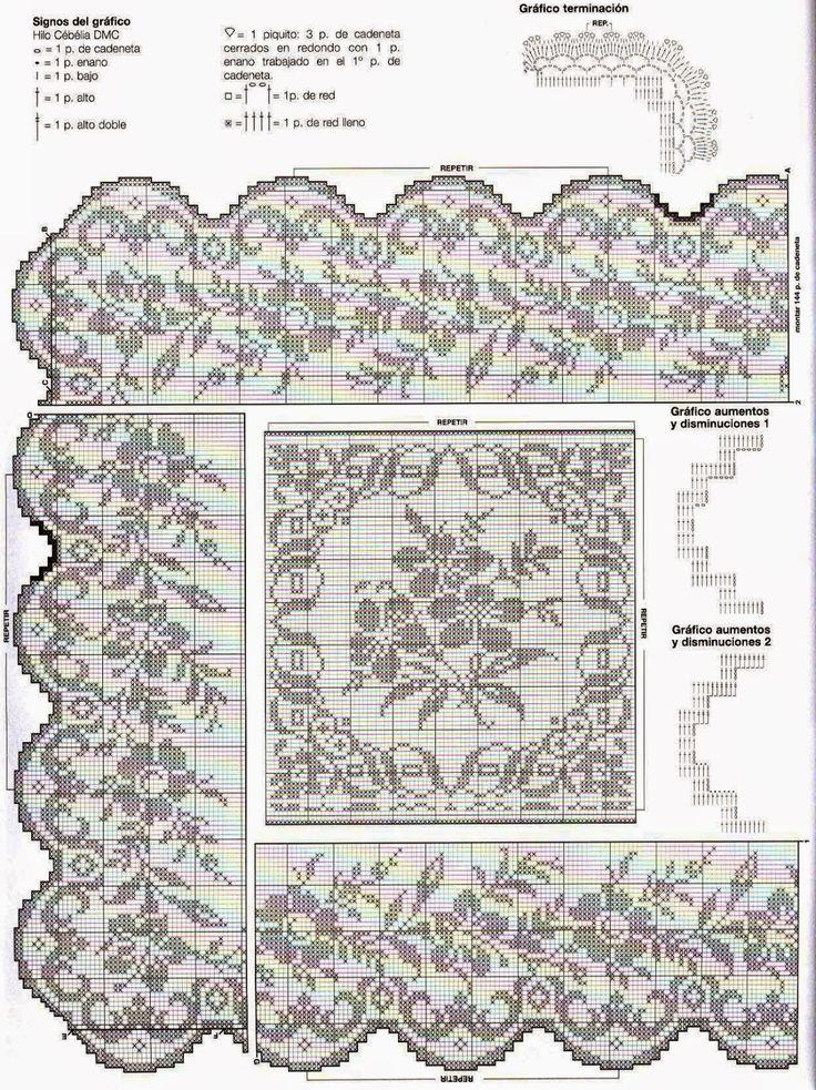 Un bellissimo motivo per un copriletto  da sogno. Fiori che si susseguono sulle strisce lavorate a rete filet.   Per le spiegazioni: per...