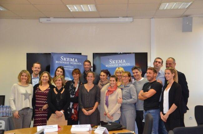 Alain Bernard , #champion #olympique de #natation, en visite à SKEMA Business School pour la signature d'une #convention avec l'AS #SKEMA !