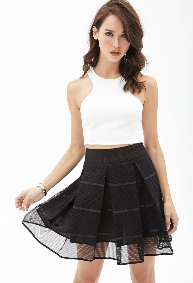 Pleated Mesh Skater Skirt