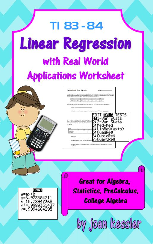 This handout helps you teach your students to use the TI 83- 84 Graphing Calculator to create a linear regression equation and solve real world applications.