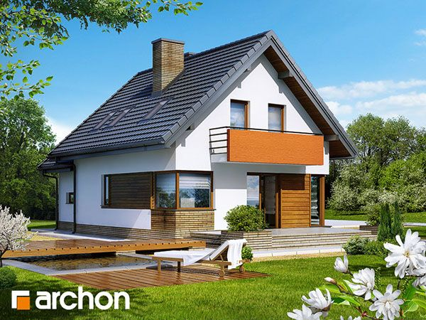 Behance :: Create Project Dom w ananasach (N) ver. 2 Dom jednorodzinny, parterowy z poddaszem użytkowym. Do dyspozycji: garaż, 5 pokoi, kuchnia, 2 łazienki, kotłownia, garderoby, kominek. Zobacz wiecej szczegółów na: http://archon.pl/gotowe-projekty-domow/dom-w-ananasach-n-ver-2/m8d01fa16c341c