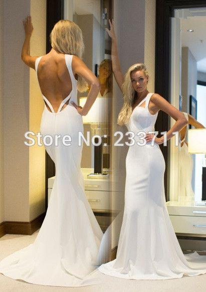 White long-sleeved elegant backless prom dress CC911 \u2022 Perfect