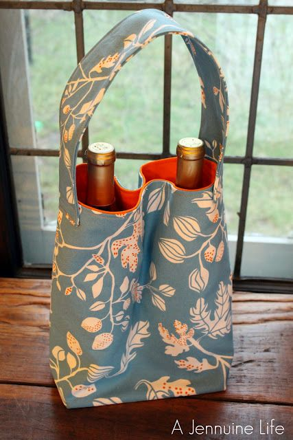 Double wine tote. I'd make longer straps for a cross-body bag.