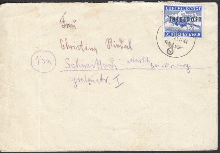 Inselpost Rhodos Zulassungsmarke gezähnt 1944 Michel 8 A