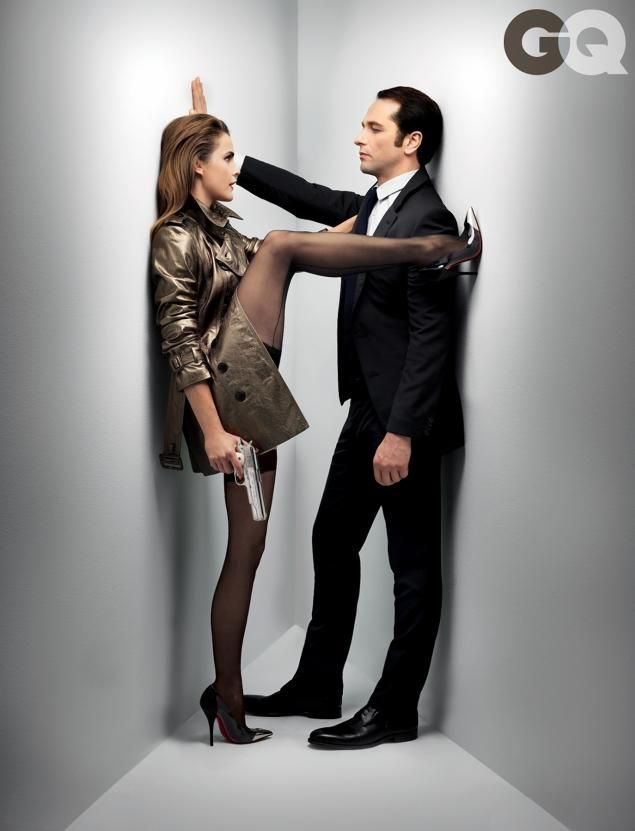 'The Americans' stars Keri Russell (L) and Matthew Rhys in the February 2014 issue of GQ.