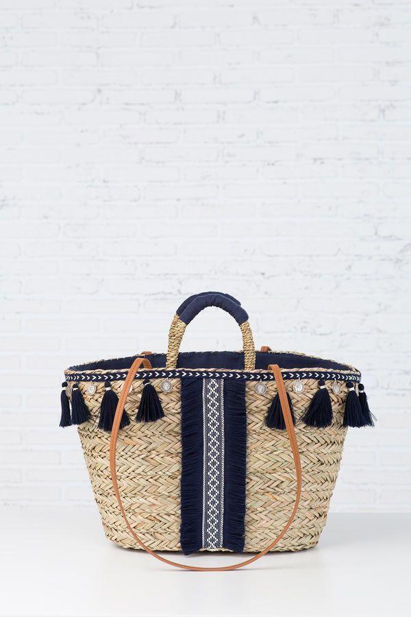 CAPAZO CINTERIA Y POMPONES, navy mezcla, hi-res                                                                                                                                                      More - merchandise bags, mens bags, hand bag for ladies *ad