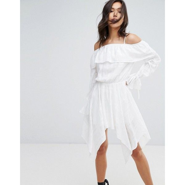 Missguided Cold Shoulder Hanky Hem Dress (40 AUD) ❤ liked on Polyvore featuring dresses, white, white long-sleeve dresses, white body con dress, long sleeve bodycon dress, white bodycon dresses and tall dresses