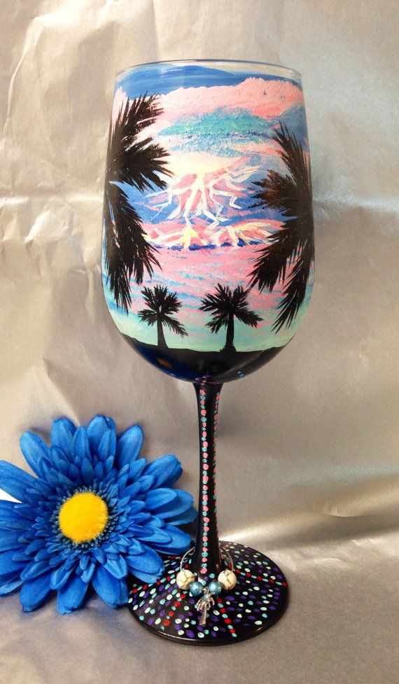 This wine was painted with Folk Art enamel paints. The paint is non- toxic , top- rack dish washer safe and can also be hand washed with warm soapy