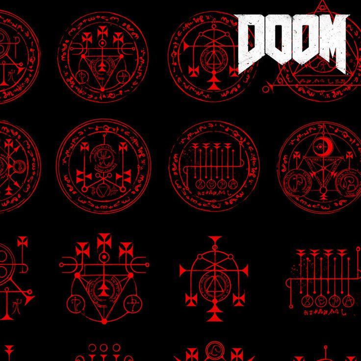DOOM - Demonic Runes & Writings, Emerson Tung on ArtStation at https://www.artstation.com/artwork/GVbnB