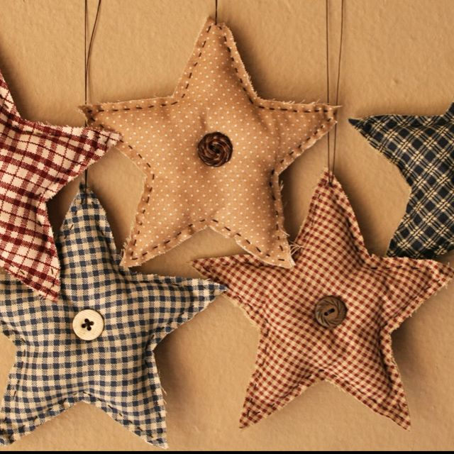 Fabric Stars Please visit, Like & Shop our Facebook Page https://www.facebook.com/RusticFarmhouseDecor