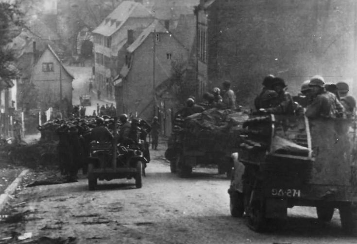 US Armored Division Moving through Limburg Germany 1945