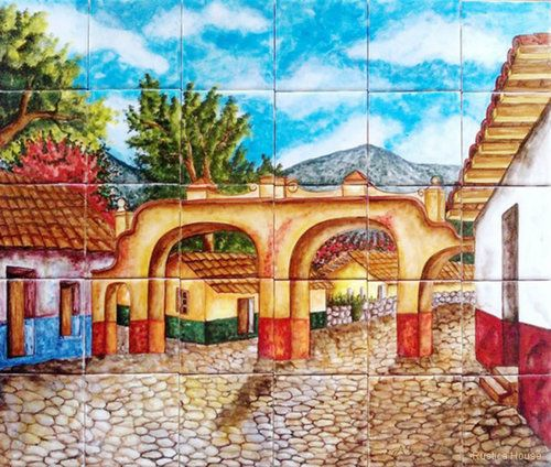 """A rustic tile mural looks pretty on a kitchen wall backsplash, bathroom wall or table-top. Arches mural sku 19024 is available in custom dimensions. rustic tiles can be also installed in swimming pools, fountains and outside of the buildings. Tile Mural """"Arches"""" by Rustica House. #RusticaHouse"""