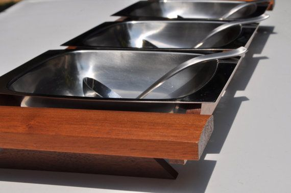 Serving Tray Mid Century Kitchen Arthur Salm Stainless Steel Wood with 3 Ladles