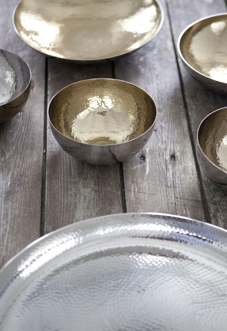 Hammerstroked beauties by Lisbeth Dahl Copenhagen. Spring/Summer 2014. #LisbethDahlCph #dustandsparkle #tray #bowl #hammerstroked