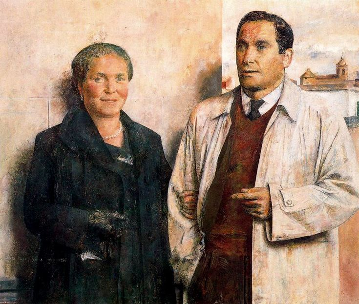 "1956. Obra de Antonio López García ( born 1936) Spanish painter and sculptor known for his realistic style. "" Mis Padres "" - "" My Parents"""