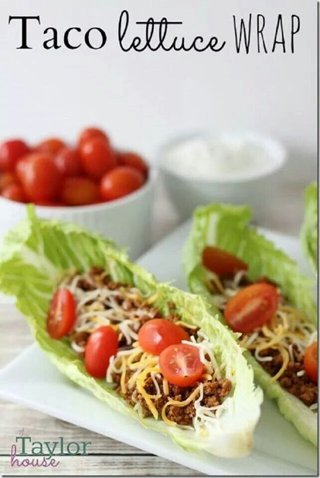 Taco lettuce wrap. Taco meat, toppings, Greek yogurt instead of sour cream, make a lettuce boat and enjoy.