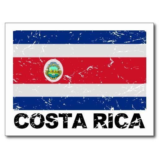 Costa Rica Vintage Flag Postcard!