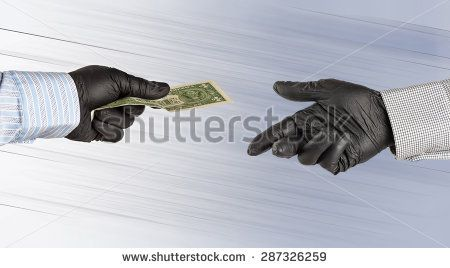 Hands in gloves transfer one american dollar.