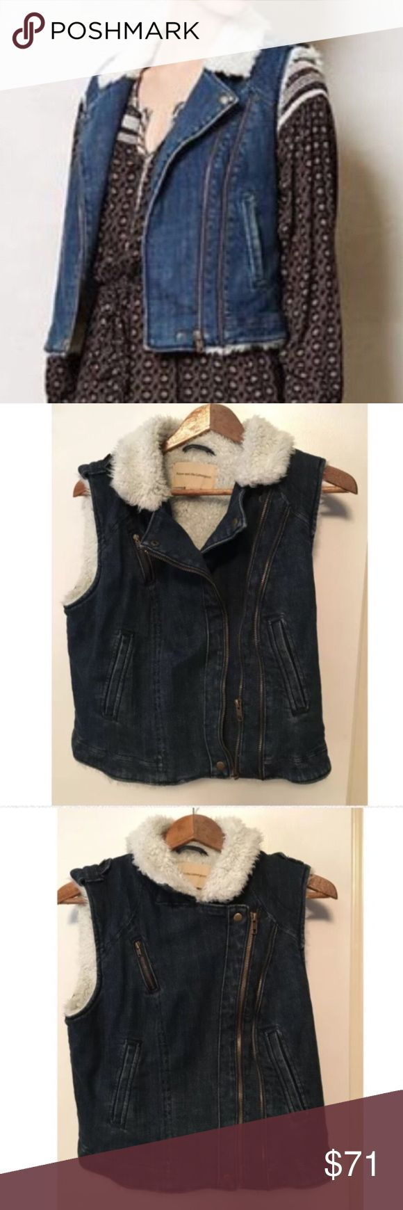 Anthropologie Brand Shearling Look Moto Denim Vest Anthropologie Brand! Shearling look! ⚜️I love receiving offers through the offer button!⚜️ Good condition, as seen in pictures! Fast same or next day shipping!📨 Open to offers but I don't negotiate in the comments so please use the offer button😊 Anthropologie Jackets & Coats