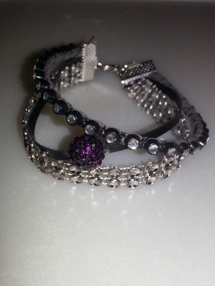 Bracelet 3 en 1 violet, gris et noir : Bracelet par dbk-creation