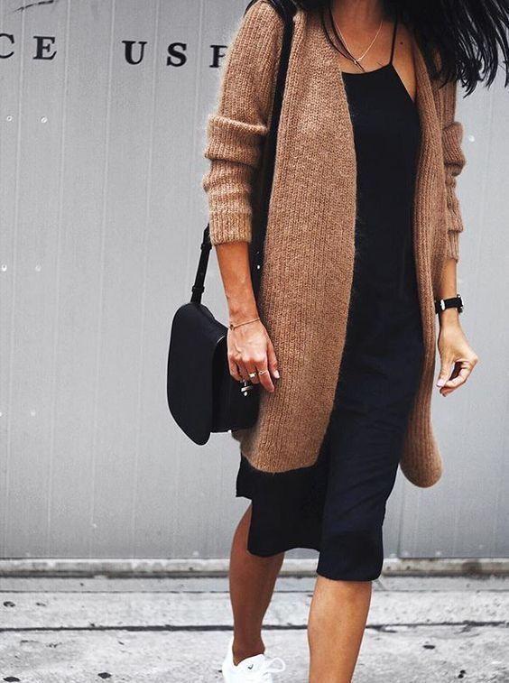 Simple black dress x slouchy cardigan