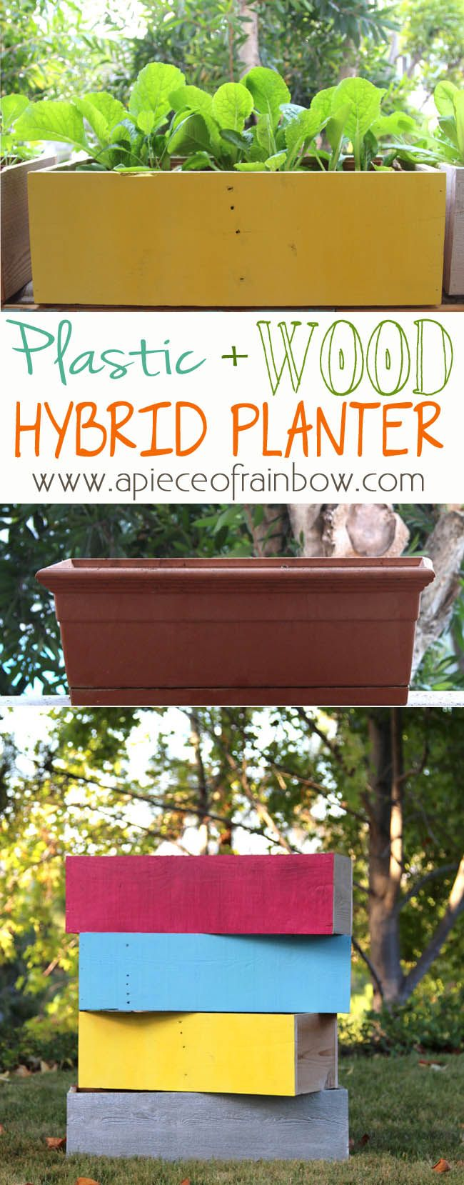 How to transform generic looking plastic planters into super chic wood planters, in just 30 minutes! | A Piece Of Rainbow