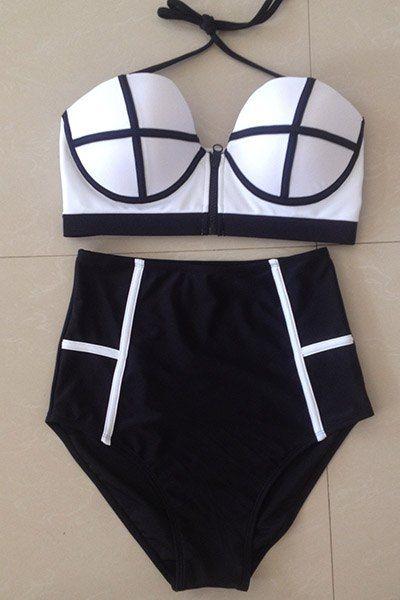 Women's Colorful Backless High Waist Bikini Swimwear