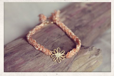 Dandelion Braid. With 14k gold plated charm.