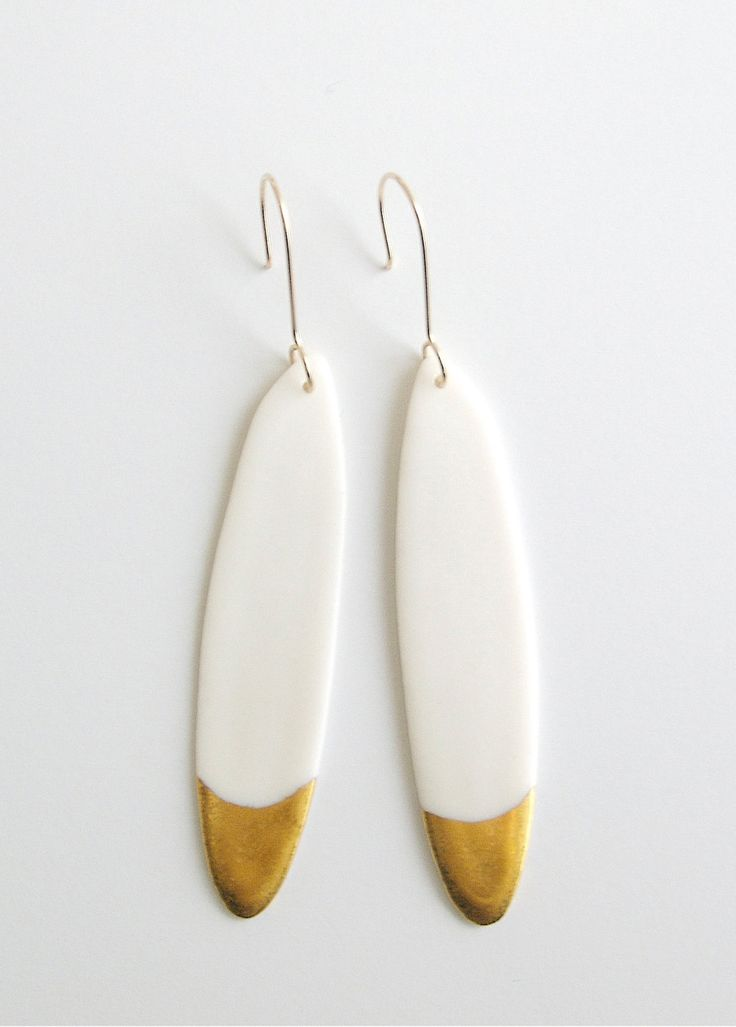 Feather Jewelry - Porcelain earrings & fine gold - By Loumi Jewelry