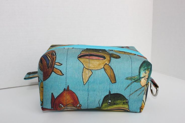 Fishing Themed Boxy Zipper Pouch, men's toiletry bag, quilted and lined with coated canvas