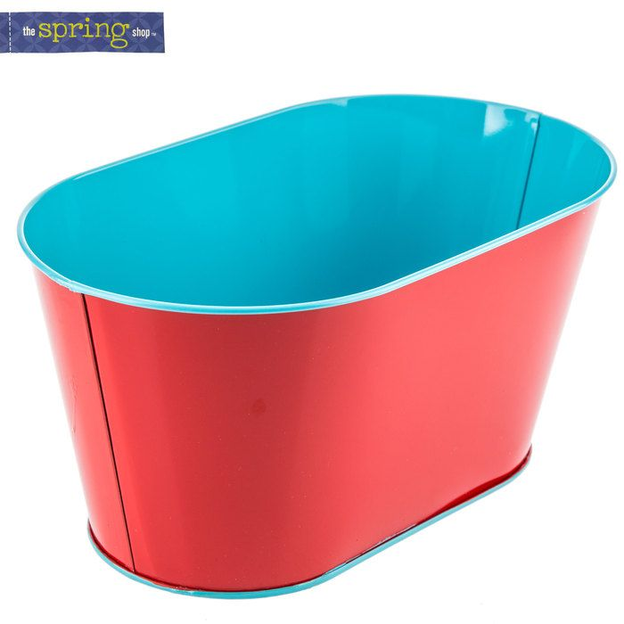 Red & Turquoise Oval Metal Container