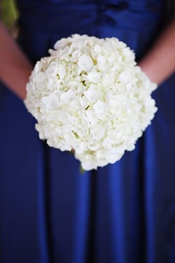 white hydrangea bouquet - I like the size of the bouquet for all of them and this is a possible color for the bridesmaids