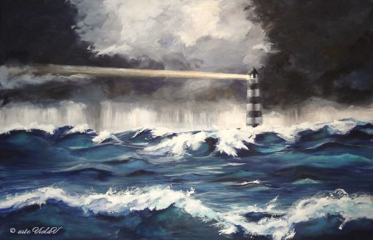 Un mare in tempesta un faro che illumina e traccia la strada, non seguirlo sarebbe rischioso, ma quanta avventura perduta nella paura.