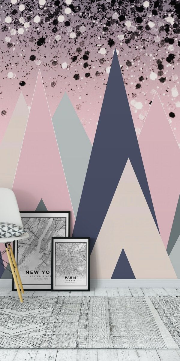 Geometric Mountains Glitter 1 Wall Mural From Happywall Triangles Hills Wallmural Color Rose Bluegray Tre Wall Murals Mural Wallpaper Abstract Wallpaper