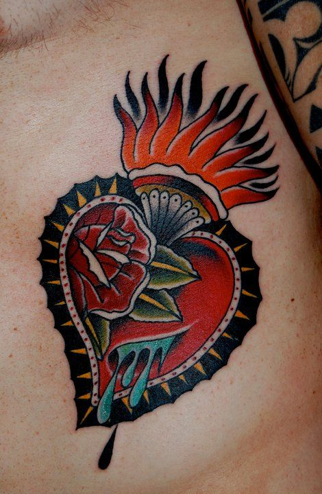 Traditional Sacred Heart Tattoo Designs | Lowdown on Old School Tattoo Designs
