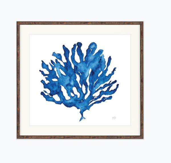 Indigo Coral Prints  Love the indigo colour in this print. Looks terrific hang by itself or as a set. #hamptonsinteriors#artwork#blue#print#prints