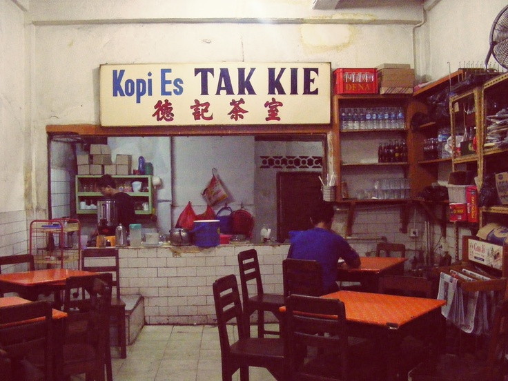 Kedai Kopi Es Tak Kie the old coffee shop located in Pecinan, Glodok. http://www.goindonesia.com/id/indonesia/jawa/jakarta/makanan/restauran/kedai_kopi_es_tak_kie
