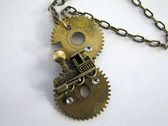 Steampunk No. N32 Train Necklace with by SteampunkPerceptions