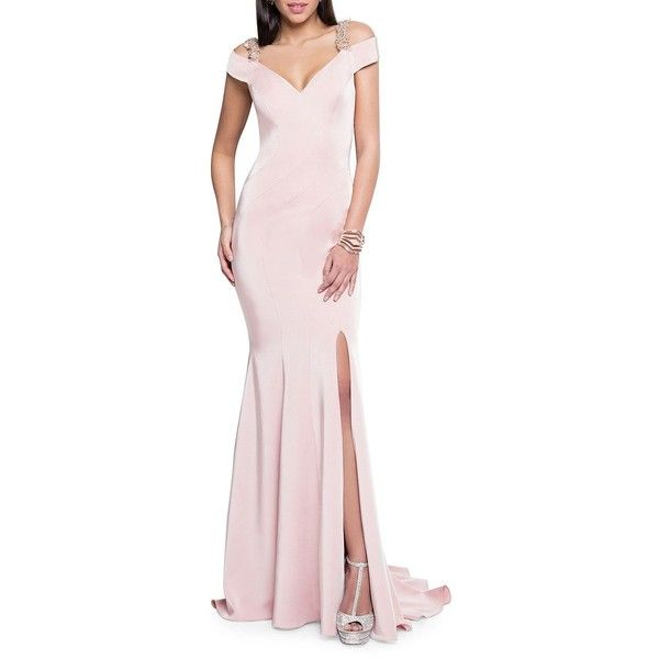 Glamour by Terani Couture Women's Off-The-Shoulder Beaded Gown ($396) ❤ liked on Polyvore featuring dresses, gowns, blush, pink gown, pink evening gowns, off the shoulder evening dress, pink ball gown and beaded evening gowns