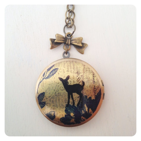 Deer Locket with Bow Necklace by catsandwhiskers on Etsy, $19.50